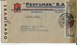 MEXIQUE - 1944 - ENVELOPPE PUB DECOREE (PARFUMS) Par AVION De MEXICO Avec 2 CENSURES => BUENOS AIRES (ARGENTINA) - Mexique
