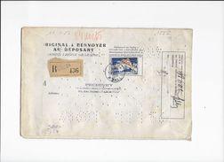 50 F Seul Sur Lettre Perforé Recommandée Pour L'envoi Des Brevets D'invention En 1956 Doc.Rare - France