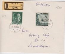 ALLEMAGNE 1938 LETTRE RECOMMANDEE DE VIENNE  AFFRANCHISSEMENT MIXTE  AVEC CACHET ARRIVEE - Alemania