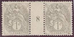 Fanz, Kolonie Levante ~1902 Mi#8+ZS+8 Bogen #8 Zwischensteg * Falz - Levant (1885-1946)