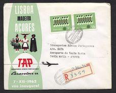 Portugal Premier Vol TAP Porto Santo Madère Santa Maria Açores Recommandée 1962 First Flight Madeira Azores R Cover - Aéreo