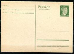 """German Empires,DR 1941 GS Kopfbild A.Hitler Mi.Nr.P 301 F/A """"Ganzsache Mit Antwortteil Komplett""""1 GS Ungebraucht - Enteros Postales"""