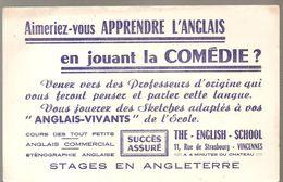Buvard THE ENLISH SCHOOL 11? Rue De Strasbourg à Versailles Aimeriez Vous Apprendre L'anglais En Jouant La Comédie - Cine & Teatro