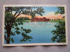 Bathing Pavilion And Beach, Lake Storey, Galesburg, Illinois. Curteich OB-H768 - Etats-Unis