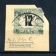 1918-19 FIUME TASSE 12f. CIFRA NERA USATO / ANGOLO ROTTO - 8. Occupazione 1a Guerra
