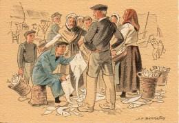 Barré Dayez Illustrateur BONNEFOY Croquis Régionnaux : La Criée Aux Poissons N° 1301E - Autres Illustrateurs