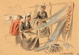 Barré Dayez Illustrateur BONNEFOY Croquis Régionnaux : Ramardage Desn Filets N° 1301 K - Autres Illustrateurs