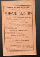 Prospectus PARIS NORD A LONDRES  1898-99 (PPP6274) - Europe