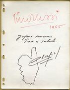 Tino Rossi (1907-1983) & Christian Méry (1921-2013) - Page De Livre D'or Dédicacée + Dessin - Autographe - Autographes