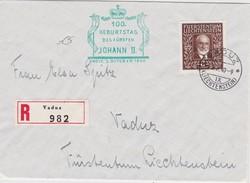 LIECHTENSTEIN 1940 LETTRE RECOMMANDEE DE VADUZ  SANS CACHET ARRIVEE - Liechtenstein