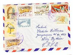 North Korea ANIMALS BIRDS DAMS PHYONGYANG COVER 1962 TO Czechoslovakia - Korea, North