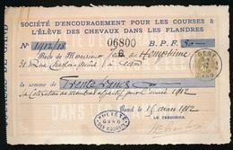 BETALING 1912 GAND - ADEL JEAN De HEMPTINE ( PAARDEKOERSEN SINT DENIJS WESTREM ) 2 AFEELDINGEN - 1905 Grosse Barbe