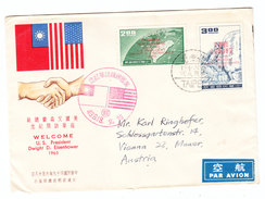 China Taiwan US PRESIDENT EISENHOWER VISIT FDC TAIPEI SENT TO Austria 1960 - 1945-... República De China