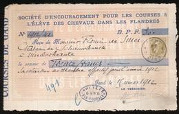 BETALING 1912 GAND - ADEL FIRMIN De SMET ( PAARDEKOERSEN SINT DENIJS WESTREM ) 2 AFEELDINGEN - 1905 Grosse Barbe