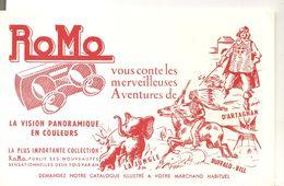 Buvard ROMO La Vision Panoramique En Couleurs Vous Conte Les Meilleures Aventures De D'Artagnan.... - Cinéma & Theatre