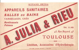 Buvard A. JULIA & RIEU Appareils Sanitaires 43, Rue Bayard à Toulouse - Buvards, Protège-cahiers Illustrés