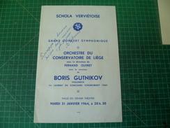 Belle Dédicace Autographe De Boris Gutnikov Sur Un Programme De La Schola Ververtoise  21 Janvier 1964. Violoniste - Autographes
