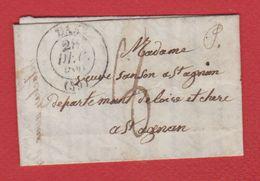 Lettre  / De Dax  /  Pour Saint Aignan / 28 Décembre 1841 - Storia Postale