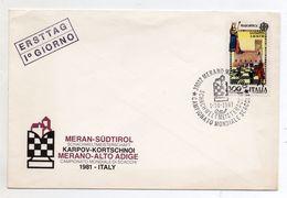 Italia - Merano (Bolzano) - 1981 - Campionato Mondiale Di Scacchi -  Con Annullo - Vedi Foto - (BPLAST1) - Scacchi