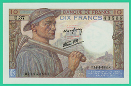 10 Francs - Type Mineur - France - N° U.37 / 43568 -  C.14=1=1943.C - Neuf - - 1871-1952 Anciens Francs Circulés Au XXème