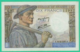 10 Francs - Type Mineur - France - N° Q.97/11982 -  A.19=4=1945.A -  Neuf - - 1871-1952 Circulated During XXth