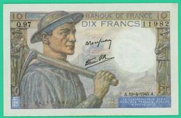 10 Francs - Type Mineur - France - N° Q.97/11982 -  A.19=4=1945.A -  Neuf - - 1871-1952 Anciens Francs Circulés Au XXème