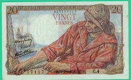 20 Francs - Type Pêcheur - France - N° C.4/77117 - D.12=2=1942.D -   Spl - - 1871-1952 Circulated During XXth