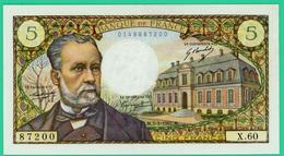 5 Francs - Type Pasteur - France - N° X.60 / 87200 - M.5-5-1967.M - Spl - - 5 F 1966-1970 ''Pasteur''