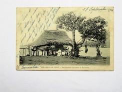 C.P.A. Tahiti : ILES SOUS LE VENT : Habitation Lacustre à RAIATEA, Animé, Timbres 1904, TRES RARE - Polynésie Française