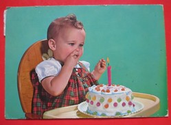 Postcard-Cute Little Baby With Cake And One Candle,First Birthday - Portraits