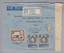 Afrika Uganda 1944-06-18 Kampala R-Luftpost-Zensurbrief Nach Bombay - Ouganda (1962-...)
