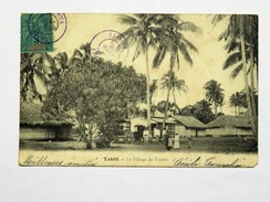 C.P.A. Tahiti : Le Village De TAUTIRA, Animé, Calèches,timbre 1904, Plan Rare - Polynésie Française