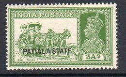 India Patiala State GVI Overprints, 3 Annas Dak Tonga Definitive, Hinged Mint, SG 86 (D) - Patiala