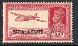 India Patiala State GVI Overprints, 12 Annas Mail Aeroplane Definitive, Used, SG 91 (D) - Patiala