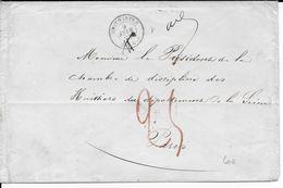 1863 - LETTRE De PARIS Avec CACHET TAXE T15 BLEU De MONTMARTRE (IND12) + TAXE MANU 25 ROUGE !! => PARIS - 1849-1876: Classic Period