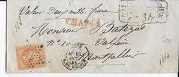 1865 - 40c SEUL Sur LETTRE CHARGEE De PARIS Avec GRIFFE DE CHARGEMENT FACE AVANT => MONTPELLIER - Postmark Collection (Covers)