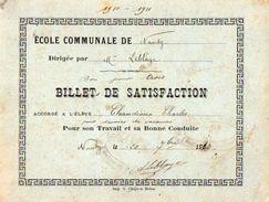VP11.394 - Ecole Communal De NANDY 1910 - Billet De Satisfaction Charles CHANDIOUX - Diplômes & Bulletins Scolaires