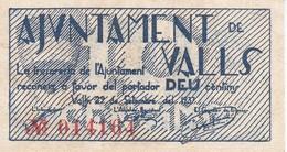 BILLETE DE 10 CENTIMOS DEL AJUNTAMENT DE VALLS DEL AÑO 1937 SIN CIRCULAR   (BANKNOTE) - [ 2] 1931-1936 : Repubblica