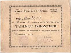 VP11.395 - Ville De PARIS 1931 - 32 - Collège CHAPTAL - Tableau D'Honneur - Elève Emile HIVERLET - Diplômes & Bulletins Scolaires