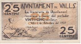BILLETE DE 25 CENTIMOS DEL AJUNTAMENT DE VALLS DEL AÑO 1937 EN BUENA CALIDAD    (BANKNOTE) - [ 2] 1931-1936 : Repubblica