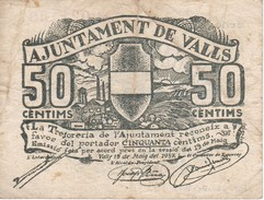 BILLETE DE 50 CENTIMOS DEL AJUNTAMENT DE VALLS DEL AÑO 1937 SERIE A     (BANKNOTE) - [ 2] 1931-1936 : Repubblica