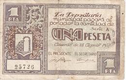 BILLETE DE 1 PESETA DEL CONSEJO MUNICIPAL DE GRAUS AÑO 1937 (HUESCA) (ROTURA PARTE SUPERIOR CENTRAL)        (BANKNOTE) - [ 2] 1931-1936 : Repubblica