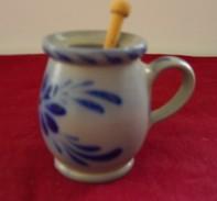 """Petit  Pot  Avec  Anse  Et  Peite  Pelle  Bois    """"  25 Cl    Couleur Bleu    (  Hauteur  8,5  Cm  -  Diamètre  6 Cm  ) - Dishware, Glassware, & Cutlery"""