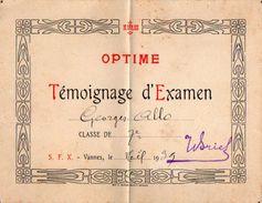 VP11.400 - VANNES 1939 - Ecole - Témoignage D'Examen - Elève George ALLO - Diplômes & Bulletins Scolaires