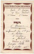 VP11.401 - 1935 - Ecole Saint George - Prix D'Honneur- Elève George ALLO - Diplômes & Bulletins Scolaires