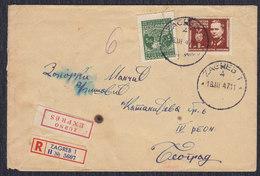 Yugoslavia 1947 Marshal Tito, Registered Letter Sent From Zagreb To Beograd - 1945-1992 Socialist Federal Republic Of Yugoslavia