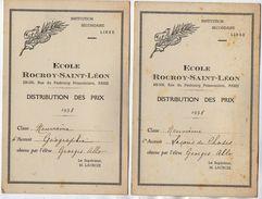 VP11.403 - PARIS 1938 - Ecole Rocroy - Saint - Léon - Distribution Des Prix - Elève George ALLO - Diplômes & Bulletins Scolaires