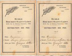 VP11.404 - PARIS 1938 - Ecole Rocroy - Saint - Léon - Distribution Des Prix - Elève George ALLO - Diplômes & Bulletins Scolaires