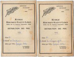 VP11.406 - PARIS 1939 - Ecole Rocroy - Saint - Léon - Distribution Des Prix - Elève George ALLO - Diplômes & Bulletins Scolaires
