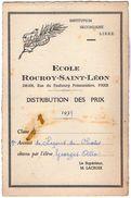VP11.407 - PARIS 1939 - Ecole Rocroy - Saint - Léon - Distribution Des Prix - Elève George ALLO - Diplômes & Bulletins Scolaires